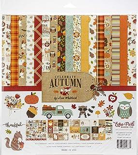 Echo Park Paper Company Celebrate Autumn Collection Kit Paper, Orange, Yellow, Blue, Brown, Tan