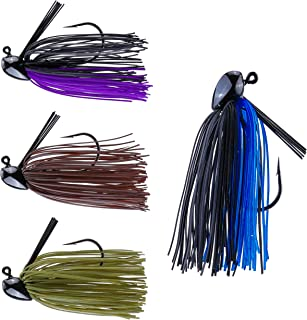 RUNCL Anchor Box - Bass Fishing Jigs - Flipping Jigs, Swim Jigs, Football Jigs - Spike Trailer Keeper, Silicone Skirts, Streamlined Head, Weedguard System, Proven Colors - Fishing Lures (Pack of 4)