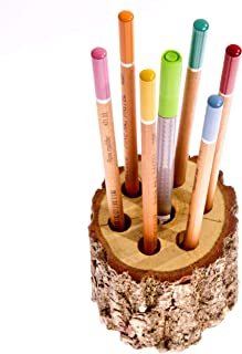 Hand-Made Solid Oak Pen Pencils Paintbrushes Eco Friendly Holder