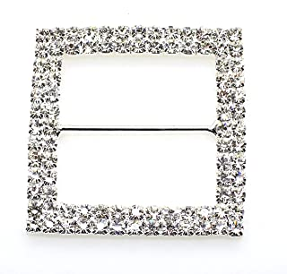 5pcs 47mm x 47mm Silver Square Shaped Rhinestone Ribbon Buckle Slider for Wedding Invitation Letter