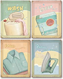 Distressed Retro Wash, Press, Fold, Clean Laundry Room Prints by Andrea Laliberty; 4-8x10