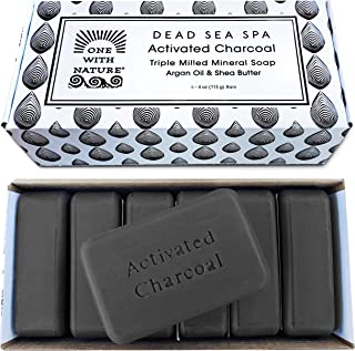 DEAD SEA Salt CHARCOAL SOAP, 4oz 6pk – Activated Charcoal, Shea Butter, Argan Oil. For Problem Skin, Skin Detox, Acne Trea...
