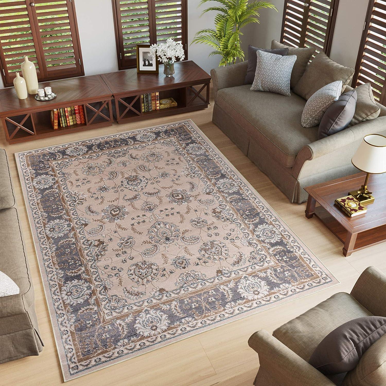 Tapiso Farbeado Teppich Wohnzimmer Kurzflor Orientalisch Beige Grau Floral Ziegler Ornament Muster Traditionell Orientteppich KOTEX 160 x 220 cm