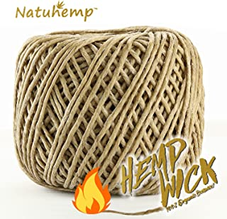 Natuhemp 100% Organic Hemp Wick with Natural Beeswax Coating Unbleached 200ft Spool for Soy Candles and Lighter (2.0mm)