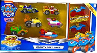 Paw Patrol Mighty Pups Super Paws True Metal Cars Set of 8 Figures - Rocky, Marshall, Chase , Zuma, Skye, Rubble, & Mighty Twins