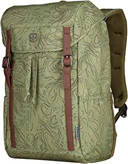 """Wenger 606476 Cohort 16"""" Flapover Laptop Backpack, Padded Laptop Compartment with Tablet Pocket in a Olive Fern Print {22 ..."""