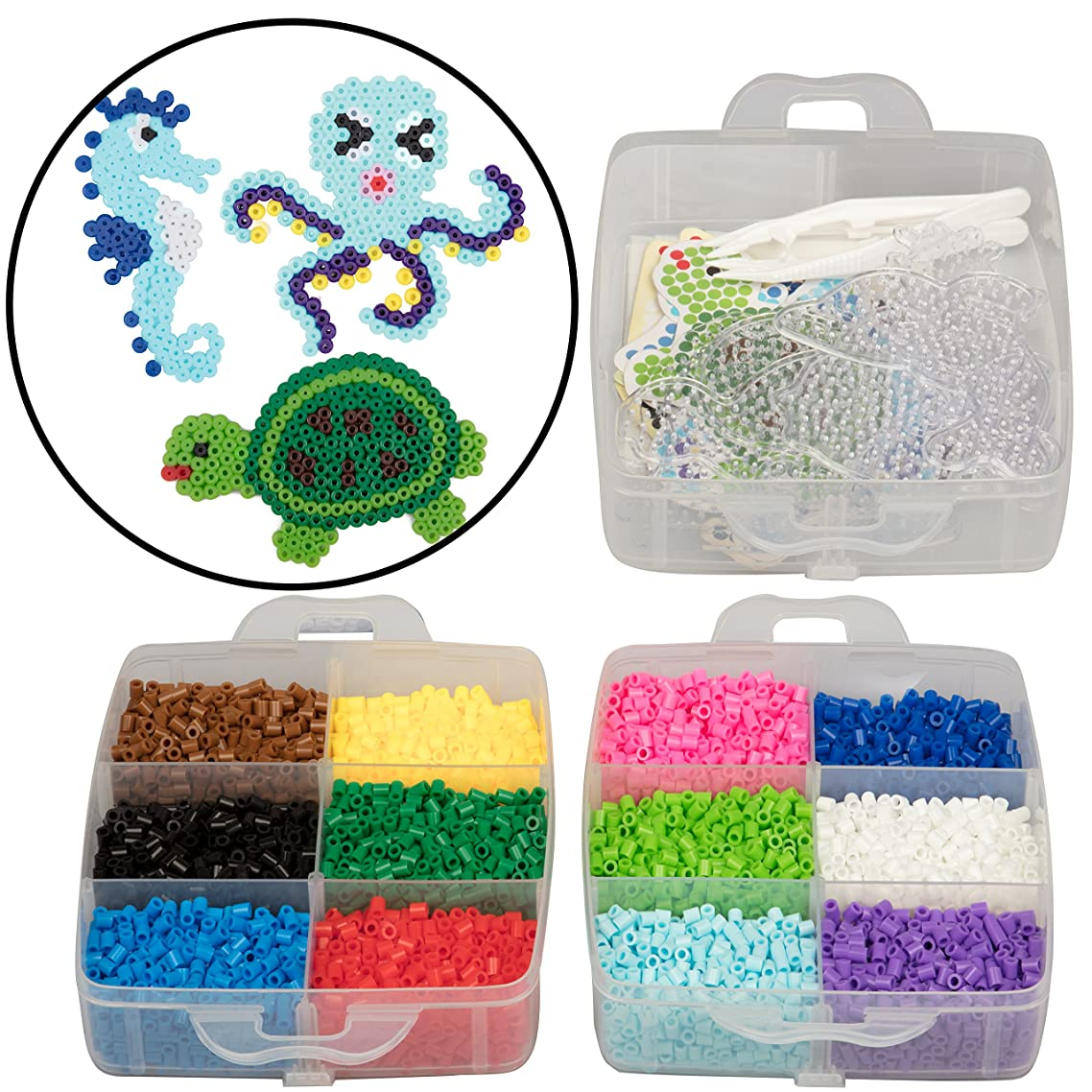 8,000pc Fuse Bead Super Kit w/Sea Animal Pegboards and Templates - 12 Colors, 6 Peg Boards, Tweezers, Ironing Paper, Case - Works with Perler Beads