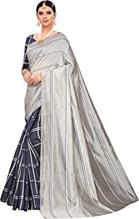 a4493385229e00 Anni Designer Women's Cotton Silk Blend Lining Saree With Blouse  Piece(ZEBRA-Colors_Free Size