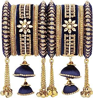 Aheli Wedding Party Designer Velvet Faux Stone Studded Bridal Bangle Set Chuda with Hangings Indian Traditional Ethnic Fas...