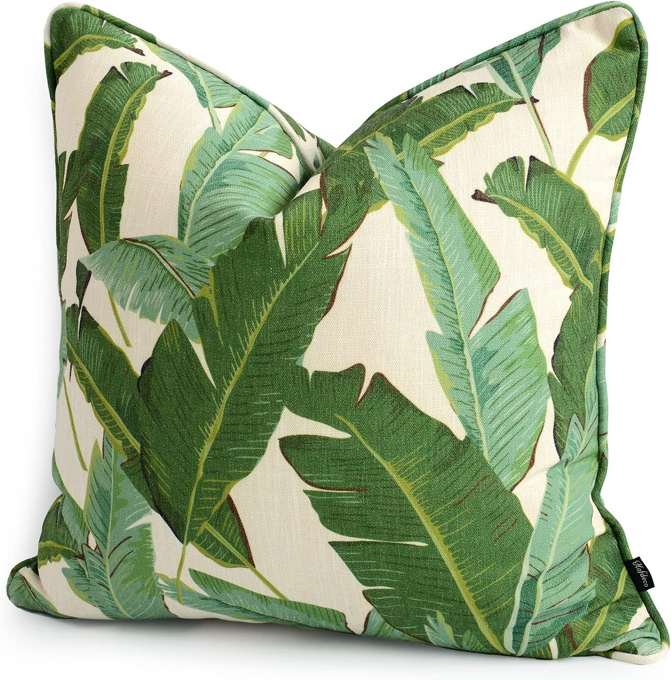 Hofdeco Premium Decorative Cushion Throw Pillow Cover HEAVY WEIGHT Cotton  Linen Modern Greenery Tropical Banana Palm Leaf 20x20 Inches 20x20cm