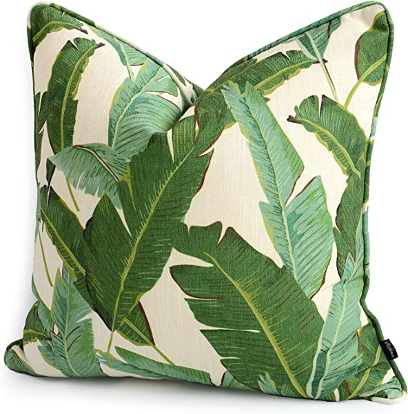 Hofdeco Premium Decorative Throw Pillow Cover HEAVY WEIGHT Cotton Linen Modern Greenery Tropical Banana Palm Leaf 20x20 Inches 50x50cm
