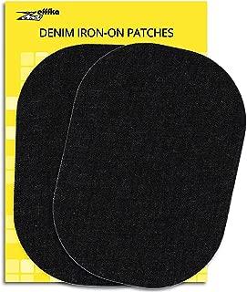 ZEFFFKA Denim Iron On Jean Patches No-Sew Black 2 Pieces Elbow Knee Cotton Jeans Repair Kit 5