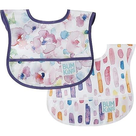 Bumkins Starter Bib, Baby Bib Infant, Waterproof, Washable, Stain and Odor Resistant, 3-9 Months, 2-Pack – Watercolors & Brushstrokes