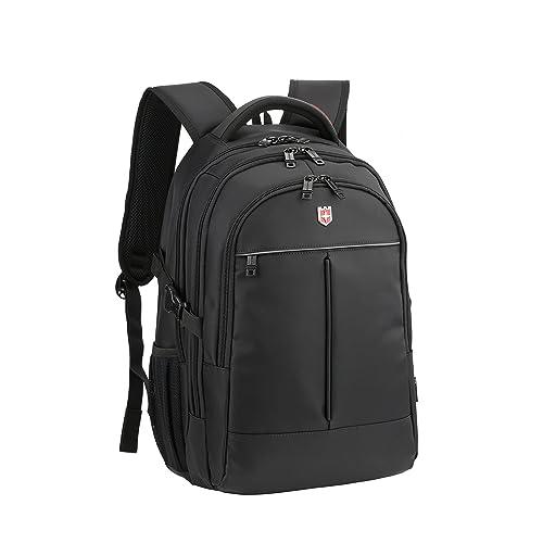 Ruigor ICON 87 – großer multifunktionaler Rucksack Tagesrucksack 30l Wasserdichter Laptop Tasche 15 Zoll schwarzer Sportrucksack für Damen und Herren RG6187