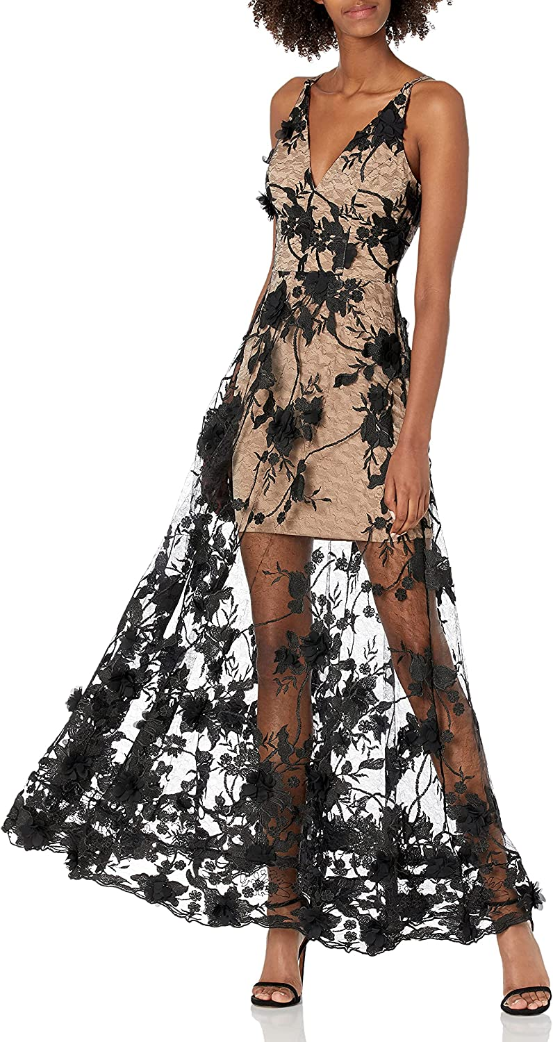 Dress the Population Women's Embellished Plunging Gown Sleeveless Floral Long Dress, Black/Nude Sidney, L