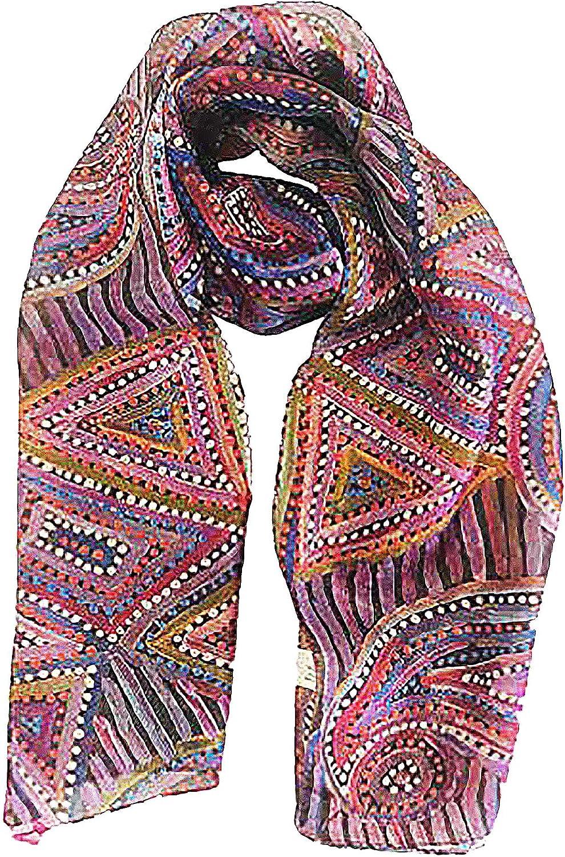 Generic Silk Scarf by Pauline Napangardi Gallagher - Australian Aboriginal Art - 100% Authentic Material, Purple, Large
