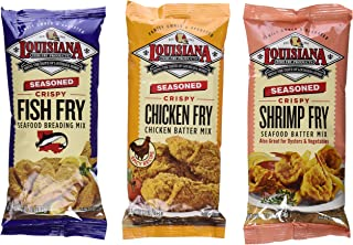Louisiana Fish Fry Products Seasoned Fry Mix 3 Flavor 6 Package Variety Bundle