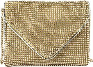 MEGAUK Damen Glitzer Clutch Kristall Unterarmtasche mit Abnehmbare Kette für Hochzeit Wedding Ball Bankett Prom Party