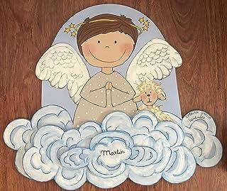 Silueta madera infantil,ángel rezando, regalo personalizado bebe, bautizo, regalo recién nacido original, decoración dormi...