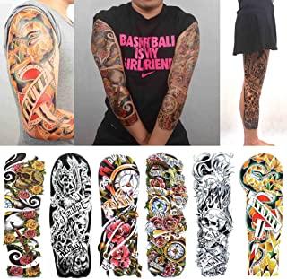 COKOHAPPY 6 Sheets Large Extra Full Arm Large Temporary Tattoo and Half Arm Sleeve Gun Rose for Men Women
