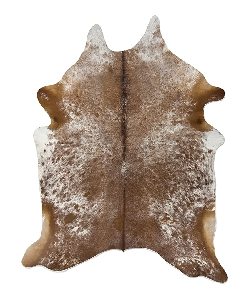 Crown Home Innovation | Brazilian Cowhide Area Rug | 100% Authentic Natural Leather | Unique Stylish Decorative Accent | No Smell or Shedding | Color, Brown (Salt & Pepper) | Size, 6'x 7'