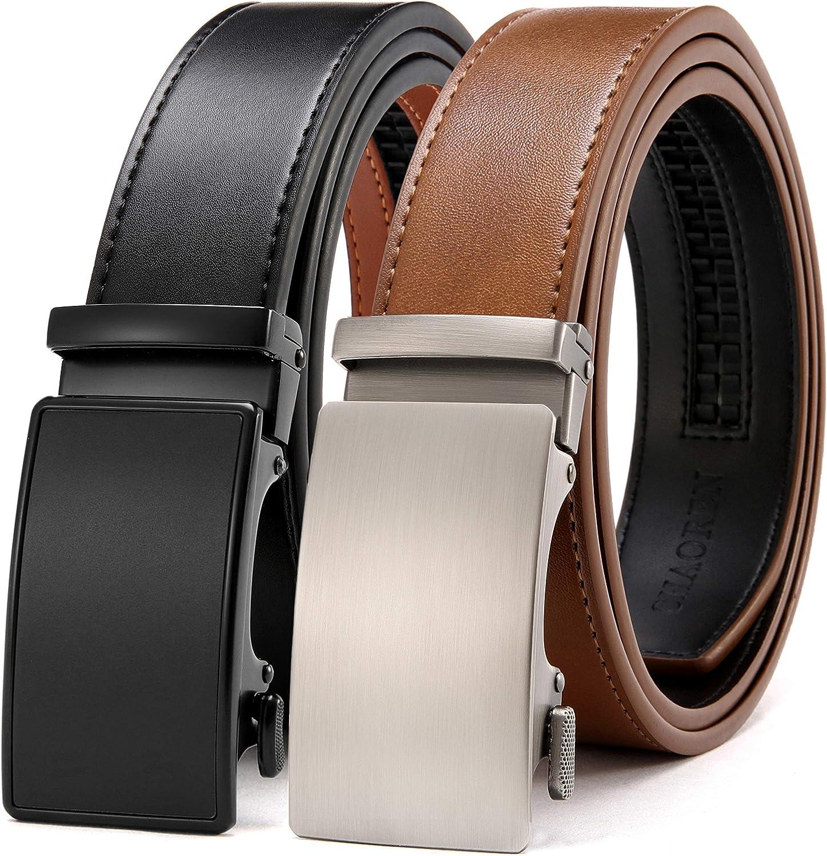 Chaoren Leather Ratchet Belt 2 Pack Dress with Click Sliding Buckle 1 3/8