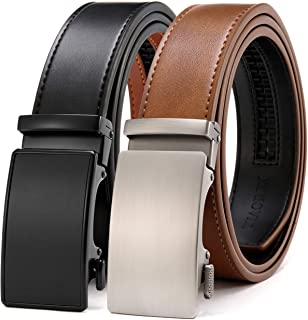 Sponsored Ad - Chaoren Leather Ratchet Belt 2 Pack Dress with Click Sliding Buckle 1 3/8