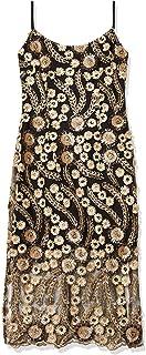 فستان سهرة كاجوال ميدي مصنوع من الدانتيل ومنقوش بزهور ذهبية اللون ثلاثية الابعاد للنساء من بيبي
