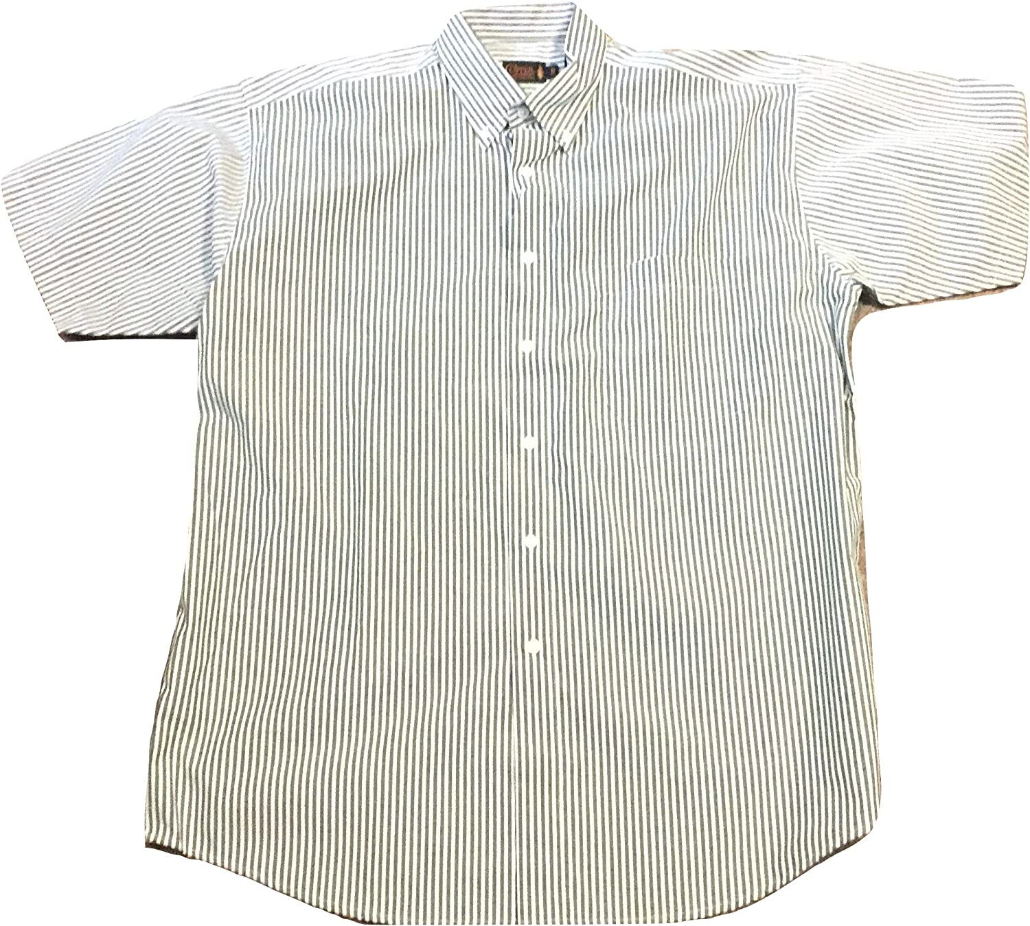 Copper Canyon Bengal Stripe Button Down Short Sleeve Big and Tall Casual Shirt