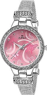 AUREX Analogue Women's Watch (Pink Dial Silver Colored Strap)