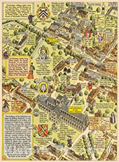 Historic Pictoric Map : A Prospect of The Cathedral and College of Winchester Taken from The North-west, 1948, Vintage Wall Decor : 44in x 60in