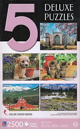 Deluxe Puzzles - 500 Piece Each  Dimont Terrier, Kornik Castle, rouge Barn, Kittens Between Cherries, Grand Teton