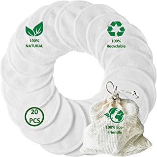 EcoFrenzy - 20 Pack Organic Reusable Makeup Remover Pads - Natural Bamboo Cotton Rounds with Cotton Laundry Bag