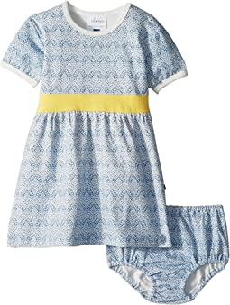 Toobydoo Blue and Gold Party Dress (Infant/Toddler)