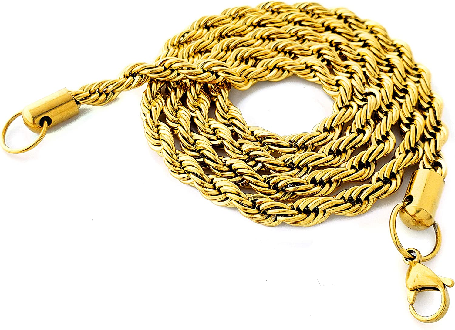 Alpha Glace 18k Gold Plated Stainless Steel Rope Chain (18