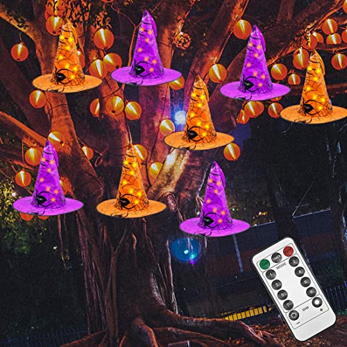 new arrival Twinkle Star Halloween Decorations 8 Pcs Lighted Hanging Witch Hats, 14ft 56 LEDs Halloween Indoor Outdoor Remote Control String high quality Lights, Battery new arrival Powered with 8 Lighting Modes for Garden, Yard, Tree outlet online sale