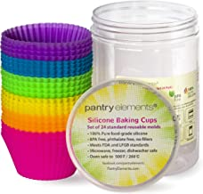 Pantry Elements Silicone Cupcake Baking Cups Liners with Bonus Storage Jar, Pack of 24 Reusable Non-Stick Muffin Liner Molds