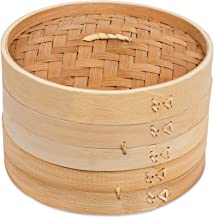 BirdRock Home 8 Inch Bamboo Steamer for Cooking Vegetables and Dumplings - Classic Traditional 2 Tier Design - Healthy Foo...