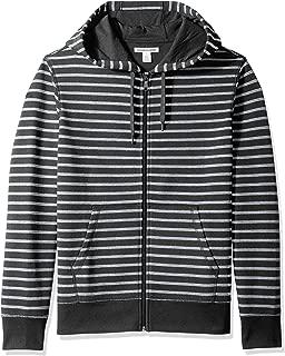 striped full zip hoodie
