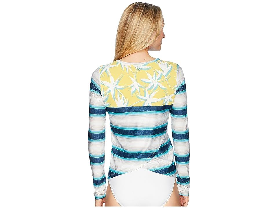 Carve Designs Riviera Rashguard (Playa Stripe/Gold Palms) Women