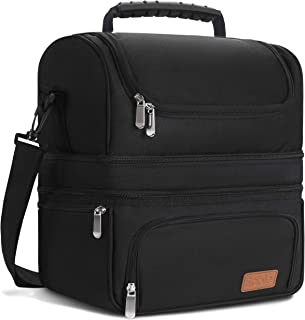 Sable Large Lunch Box, 22L Big Capacity Bag With Cooler & Insulated Compartments, 4 Functional Pockets, Waterproof Oxford, Should Strap Included, For For Adults, Families, Black