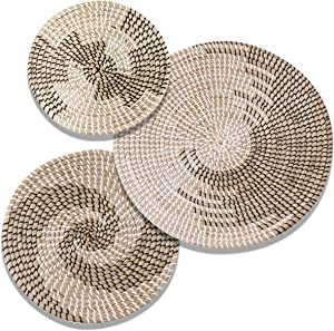 Handmade Hanging Woven Wall Basket Decor Set - 3 Artistic Round Seagrass Baskets for Bedroom, Kitchen, and Living Room - Multi-Purpose, Easy to Hang Natural Boho Basket Wall Decor and Storage