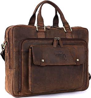 TUSC TUSC Oberon Braun Leder Tasche Laptoptasche 14 Zoll 15,6 Zoll Herren Umhängetasche Aktentasche Schultertasche für Büro Notebook Messenger Bag Laptop iPad, Größe- 41x32x13 cm