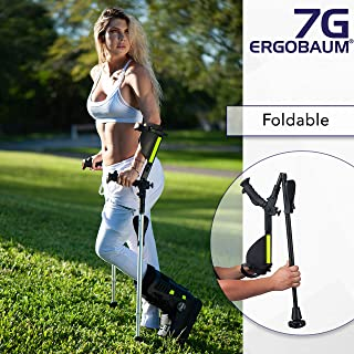 Ergobaum® 7TH Generation Prime by Ergoactives. 1 Pair (2 Units) of Ergonomic Forearm Crutches - Adult 5' - 6'6'' Adjustable (Original Black)