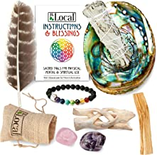 JL Local Aura Chakra Smudging Kit - White Sage Smudge Sticks, Palo Santo, Amethyst, Rose Quartz, Abalone Shell, Stand & Ch...