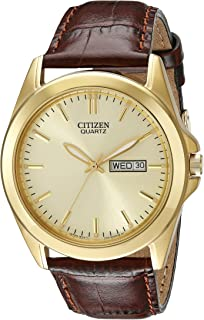 Men's Goldtone Watch with Brown Leather Strap