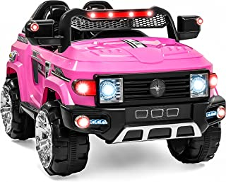 Best Choice Products Kids 12V Electric RC Truck Ride On w/ 2 Speeds, LED Lights, MP3, AUX, Pink