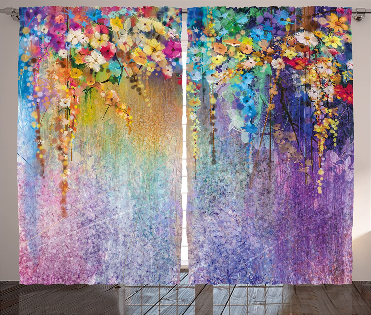 Ambesonne Watercolor Flower Home Decor Curtains, Abstract Herbs Weeds Blossoms Ivy Back with Florets Shrubs Design, Living Room Bedroom Window Drapes 2 Panel Set, 108 W X 63 L Inches, Multi