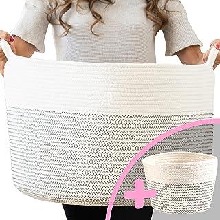 """Little Hippo 2pc XXXL Large Cotton Rope Basket (22""""x14"""") 100% Natural Cotton! Rope Basket, Woven Storage Basket, Large Bas..."""