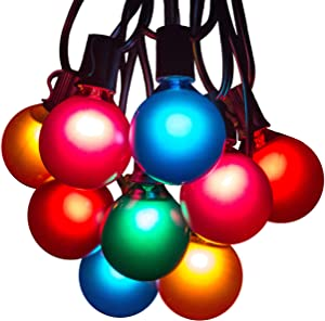 Hometown Evolution, Inc. 25 Foot Outdoor Colored String Lights - G50 Assorted Satin Pearl 2 Inch Globe Bulbs - Black Wire (+ 1 Free Spare) for Patio Balcony Awning Canopy and Party Lighting